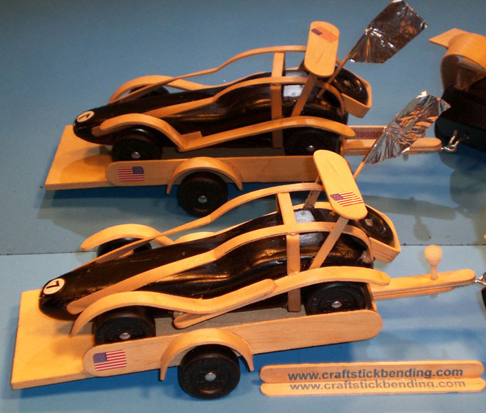 popsicle stick trailer pinewood derby cars craft stick bending kits